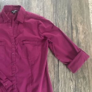 LE CHATEAU Fitted Button Down Roll-up Sleeves Top